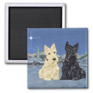 Wheaten Black Scotties Christmas Magnet