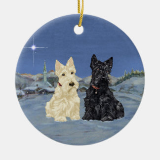 Wheaten Black Scotties Christmas Round Ceramic Decoration