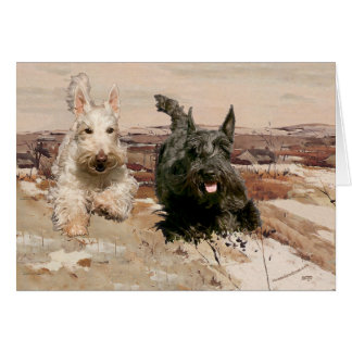 Wheaten & Black Scotties Running Card