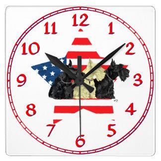 Wheaten & Black Scottish Terriers Wall Clock