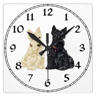 Wheaten & Black Scottish Terriers Wallclock