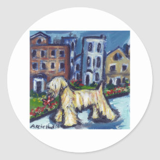 wheaten City Dog Classic Round Sticker