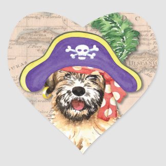 Wheaten Pirate Heart Sticker