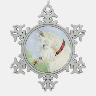 Wheaten Scottie Snowflake Pewter Christmas Ornament