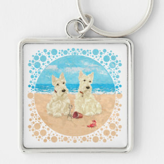 Wheaten Scotties at the Beach Silver-Colored Square Key Ring