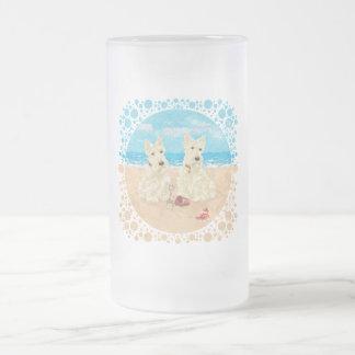 Wheaten Scotties at the Beach Coffee Mugs