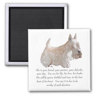 Wheaten Scottish Terrier - FEMALE Dog Square Magnet