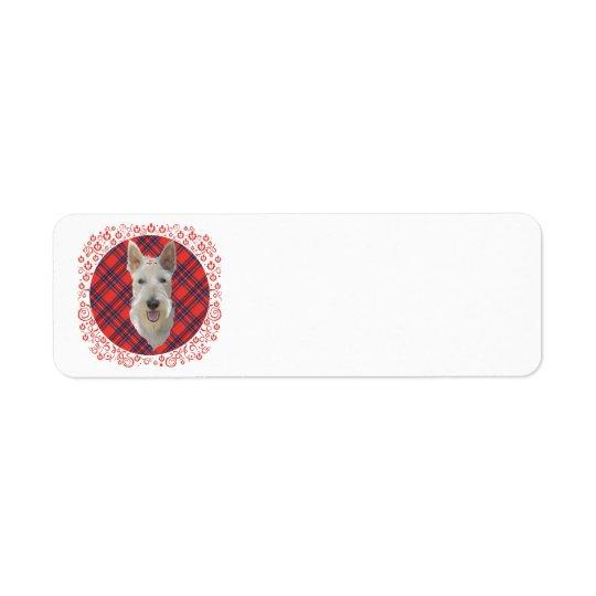 Wheaten Scottish Terrier on Tartan Return Address Label