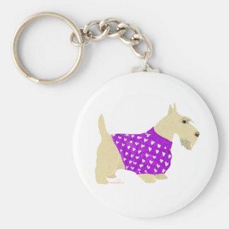 Wheaten Scottish Terrier Sweater Basic Round Button Key Ring