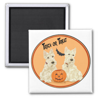 Wheaten Scottish Terriers Halloween Square Magnet