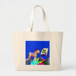 Wheaten Terrier Artist  (Blue Bkgd) Bags