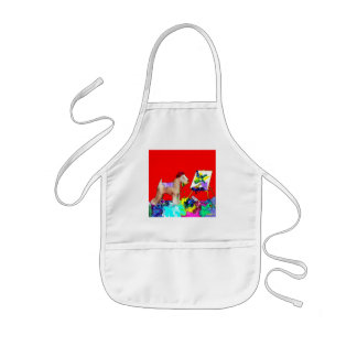 Wheaten Terrier Artist  (Red Bkgd) Kids Apron