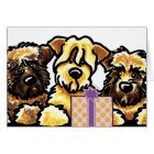 Wheaten Terrier Trio Birthday Card