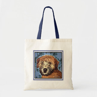 WHEATEN TERRIER: WET PUPPY  (Blue Bkgd) Budget Tote Bag