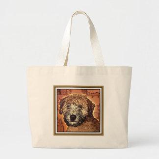 WHEATEN TERRIER: WET PUPPY (Brown Bkgd) Jumbo Tote Bag