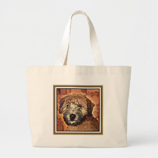 WHEATEN TERRIER: WET PUPPY (Brown Bkgd) Large Tote Bag