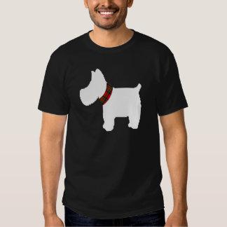 Wheaten Terrier with a Red Tartan Check Collar T Shirt