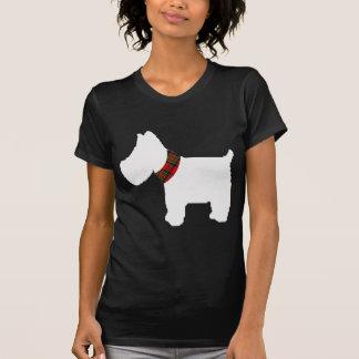 Wheaten Terrier with a Red Tartan Check Collar T-Shirt