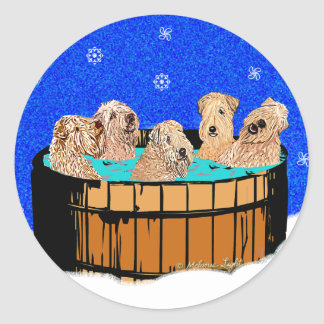 WHEATEN TERRIERS IN HOT TUB CLASSIC ROUND STICKER