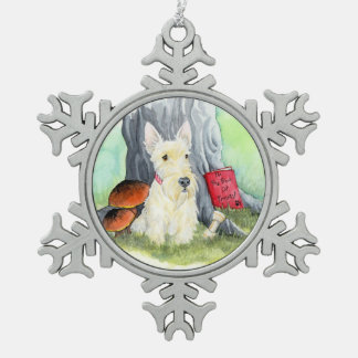 Wheaten Wiggles in the Wood Snowflake Pewter Christmas Ornament