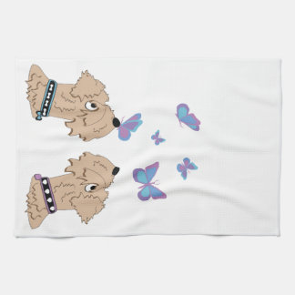 Wheatens and Butterflies Tea Towel