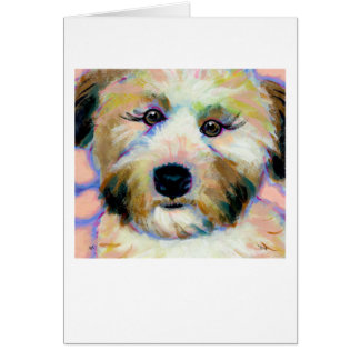 Wheatens Mean Business fun unique dog art painting Greeting Card