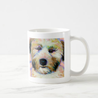 Wheatens Mean Business fun unique dog art painting Coffee Mugs