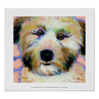 Wheatens Mean Business fun unique dog art painting Poster