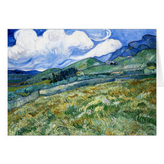 Wheatfield and Mountains, Vincent Van Gogh Card