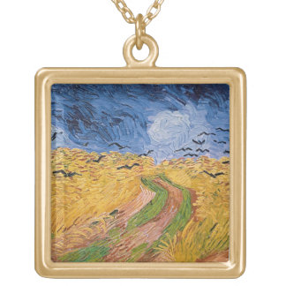 Wheatfield with Crows, 1890 (oil on canvas) Personalized Necklace