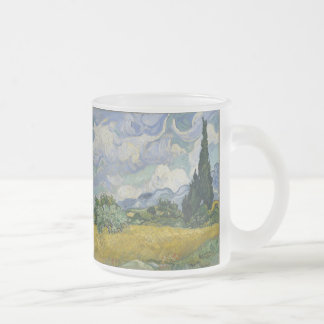 Wheatfield with Cypresses 10 Oz Frosted Glass Coffee Mug