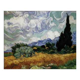 Wheatfield with Cypresses Poster