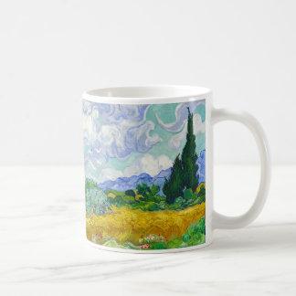 Wheatfield with Cypresses, Vincent Van Gogh Coffee Mug