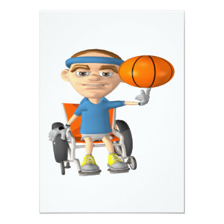 Wheel Chair Basketball 13 Cm X 18 Cm Invitation Card