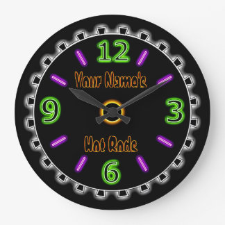 Wheel Cool Faux Neon #2 (Personalized Wall Clock) Wall Clocks