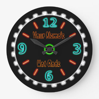Wheel Cool Faux Neon (Personalized) Wall Clock
