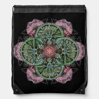 Wheel Lotus Mandala Drawstring Backpack