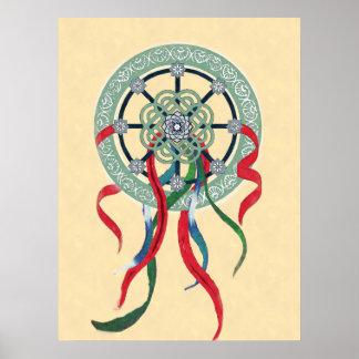 Wheel Mandala with Color Ribbons Poster Print