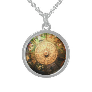 WHEEL OF THE YEAR WICCA CHARM ROUND PENDANT NECKLACE