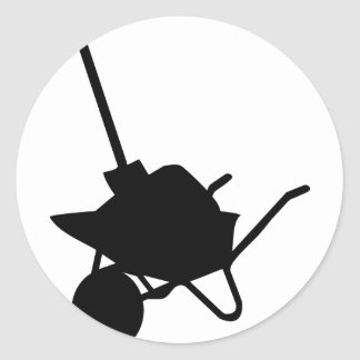 wheelbarrow and shovel round sticker