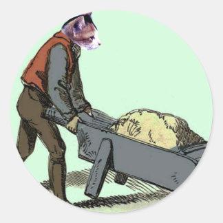 wheelbarrow cat round sticker
