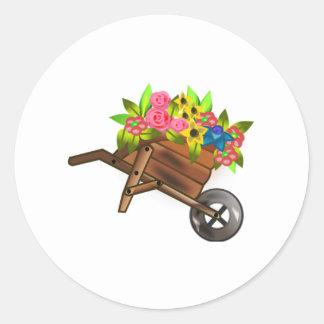 Wheelbarrow Full of Flowers Round Sticker