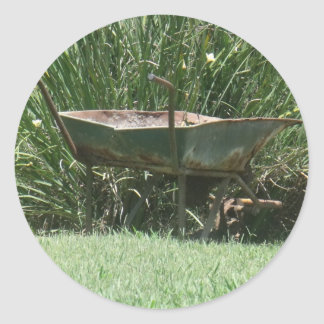 Wheelbarrow Round Sticker