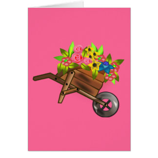 Wheelbarrow/ wagon filled with flowers greeting card