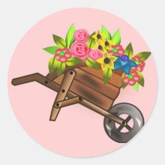 Wheelbarrow/ wagon filled with flowers round sticker