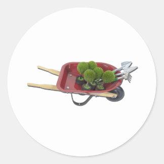 WheelbarrowPlantsTools051411 Round Sticker