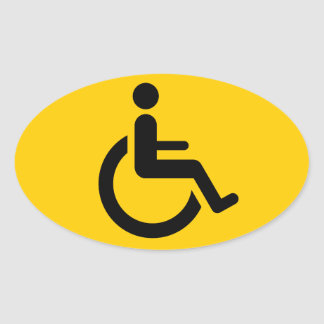 Wheelchair Access - Handicap Chair Symbol Oval Sticker