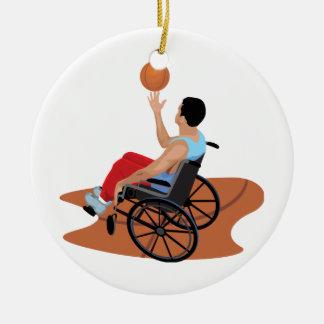 wheelchair basketball round ceramic decoration