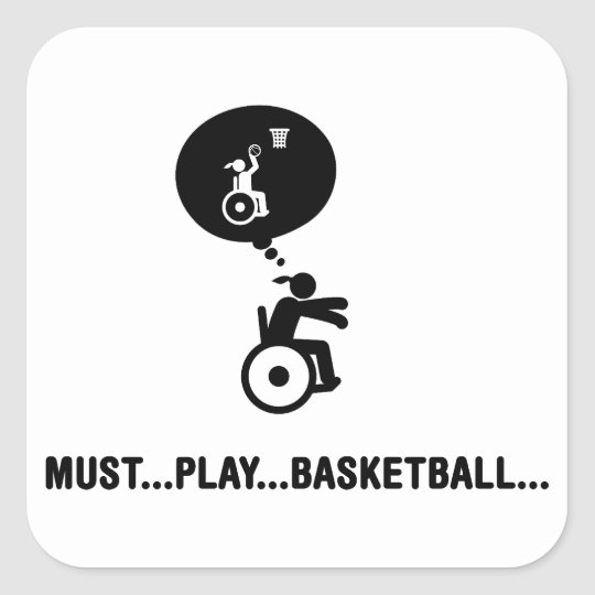 Wheelchair Basketball Square Sticker