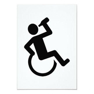 "Wheelchair drinking 3.5"" x 5"" invitation card"